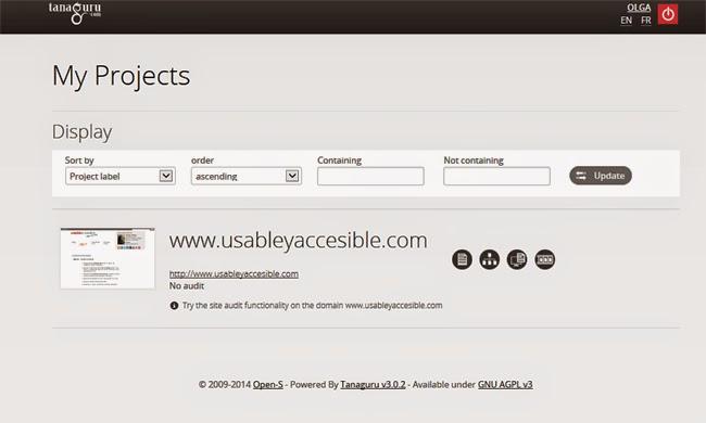 Panel de control de Tanaguru. Se lista un proyecto con su URL y un pantallazo del mismo. El listado puede ordenarse
