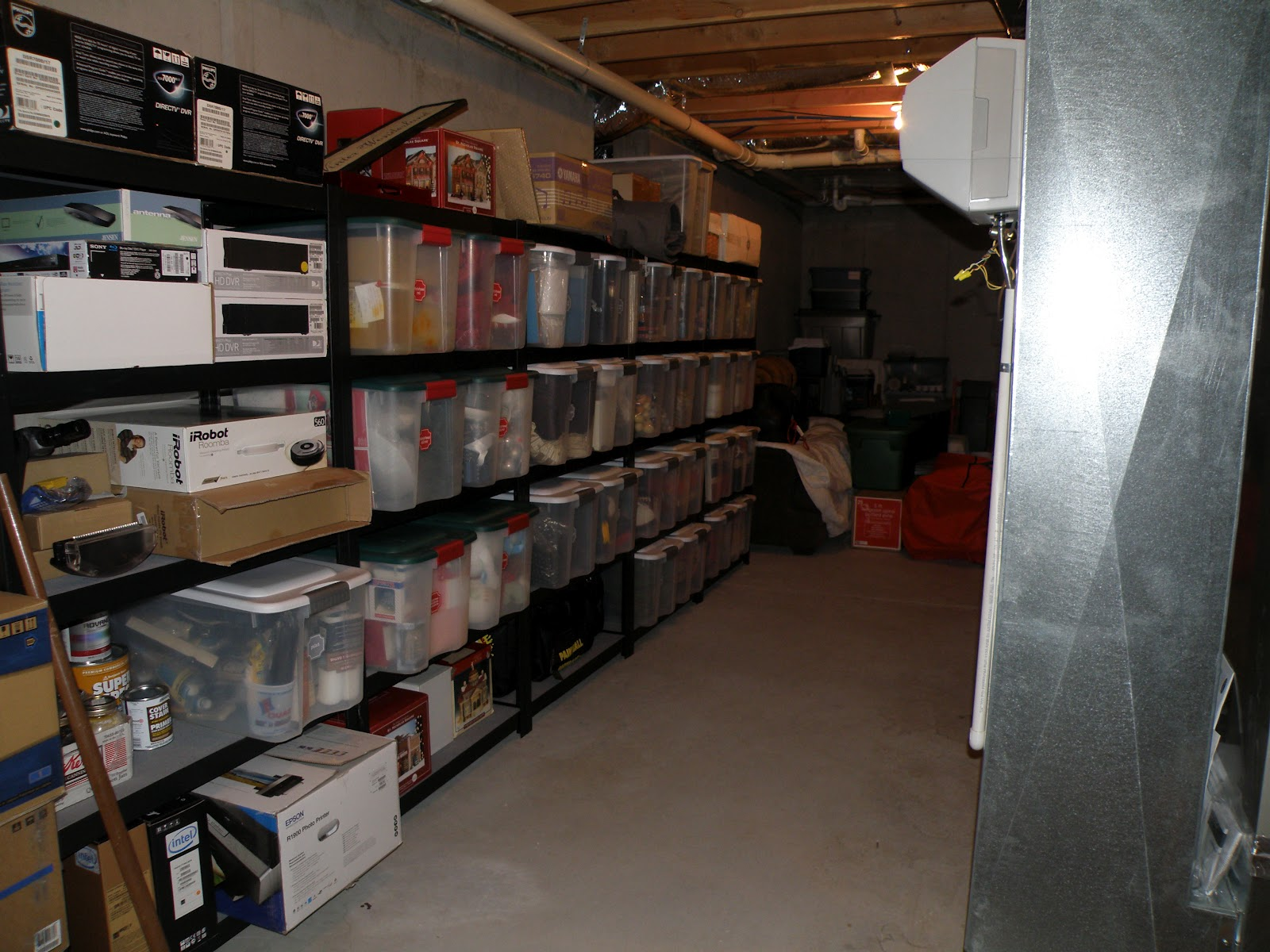 unfinished basement storage