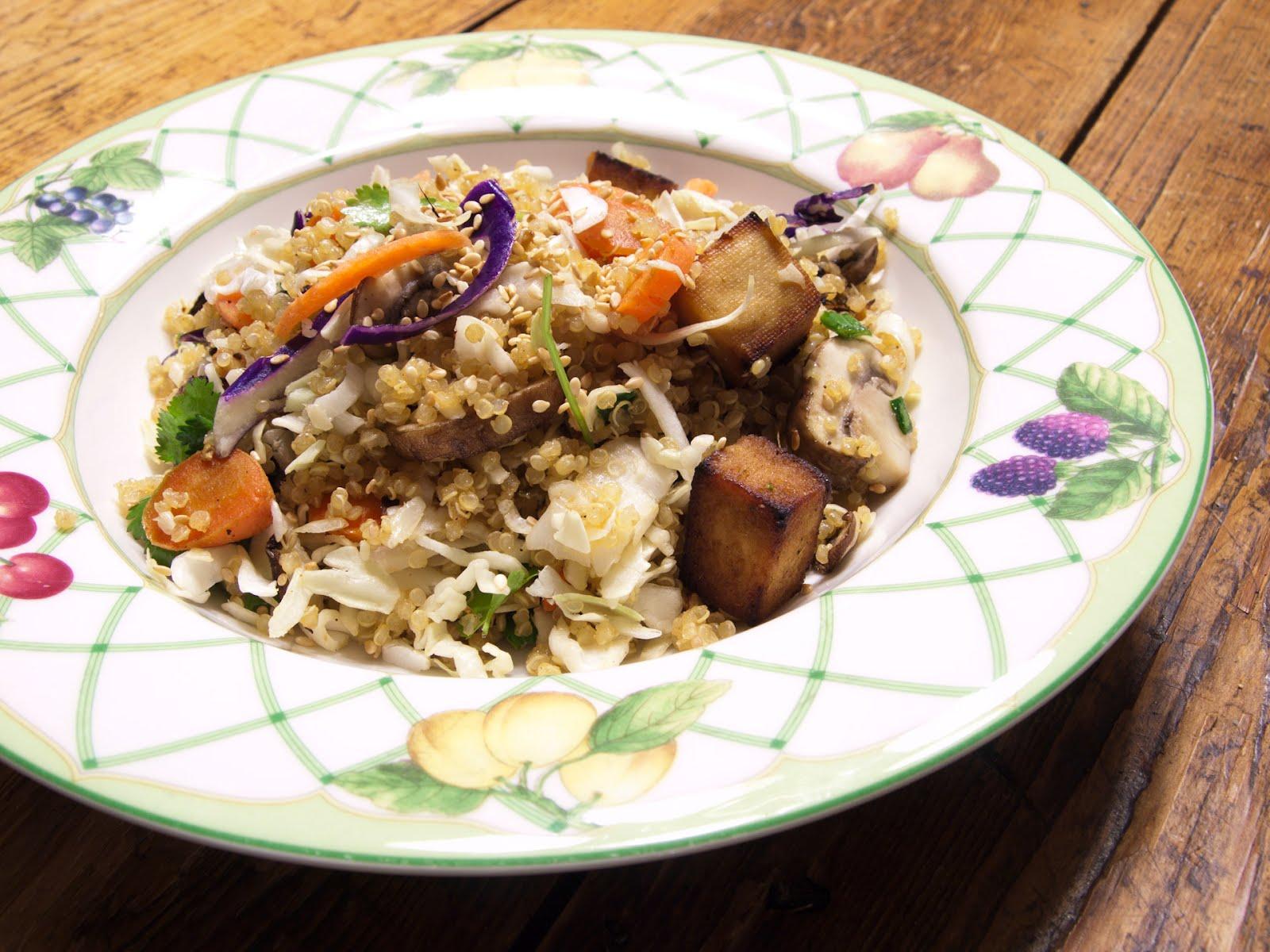 Baked tofu & veggie quinoa salad