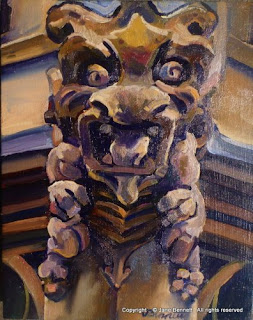oil painting of sandstone sculpture of gargoyle 'Gargoyle, University of Sydney' 2009 oil on board 25 x 20cm by Artist Jane Bennett