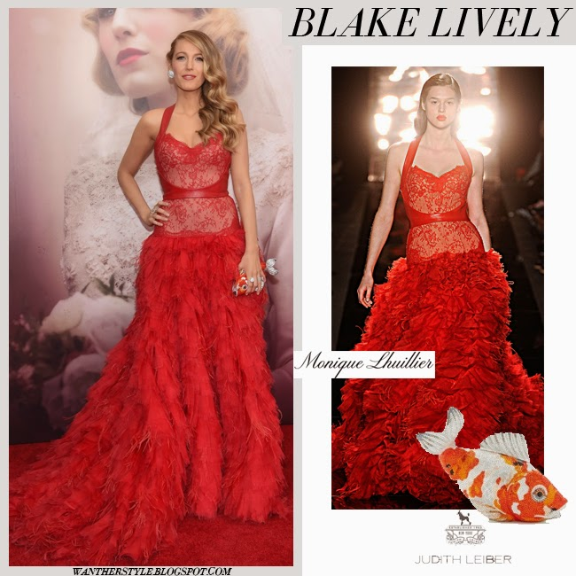 Blake Lively in red lace and leather gown from Monique Lhuillier red carpet style 2015 blonde hairstyle