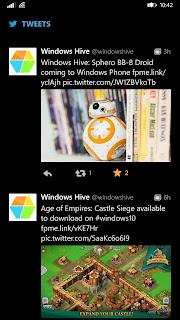 twitter WP app UI tweets