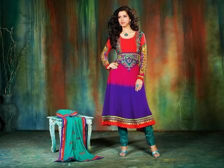 Colorful-Khadi-Work-on-Anarkali-Umbrella-Frock