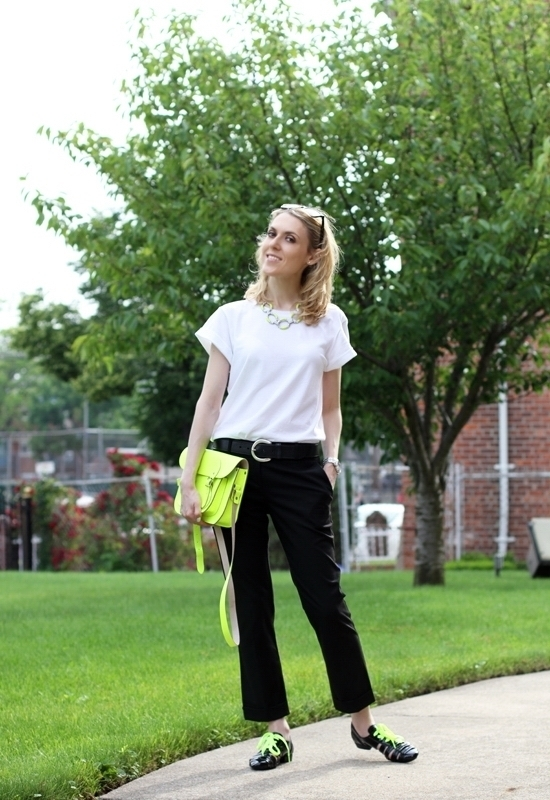 Asos Boyfriend T-Shirt Asos Tailored Slim Cropped Pant Yochi Neon Yellow Open Crystal Link Necklace The Cambridge Satchel Company Fluoro Satchel Wittnauer Chronograph Watch Assenso Ferro Shoes Ralph Lauren Belt Sinful Colors Professional Nail Polish