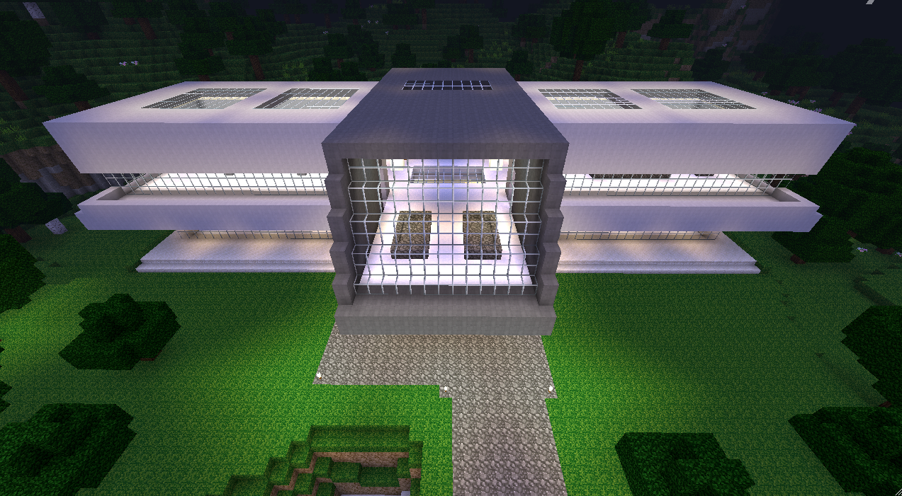 Plan maison moderne minecraft for Modele maison minecraft