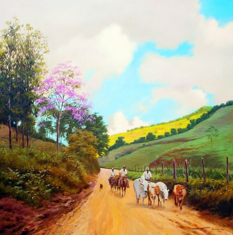 Purchase flores del campo - painting by pedro grandez for 1276,00 usd at artelistacom
