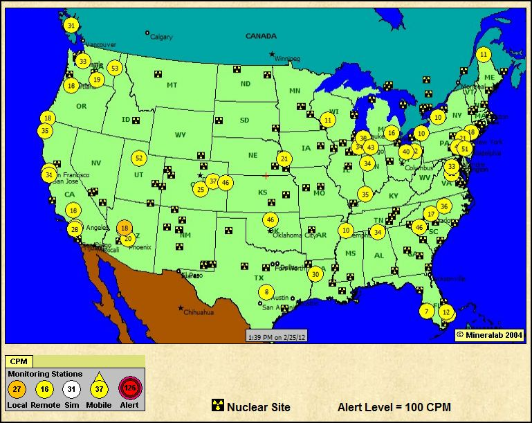 The Cave RadiationNetworkcom National Radiation Map Depicting - Us radiation levels map