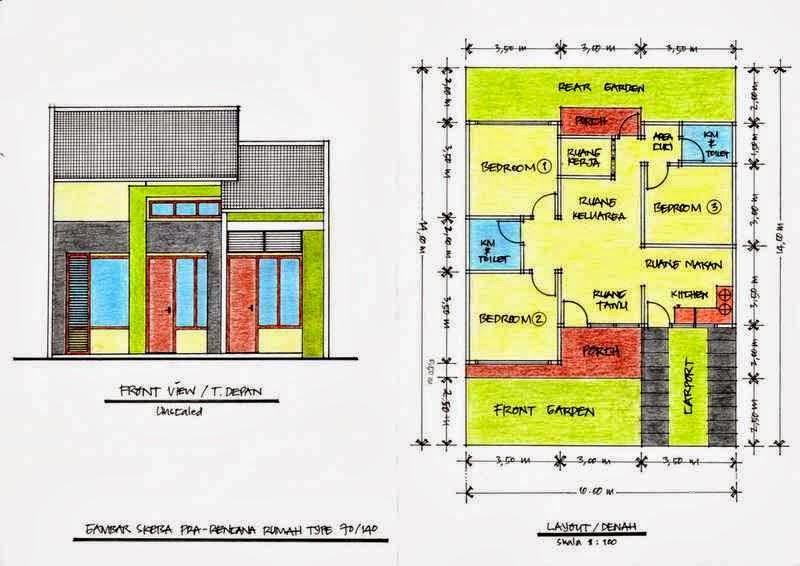 10 denah desain rumah minimalis 3 kamar tidur 1 lantai