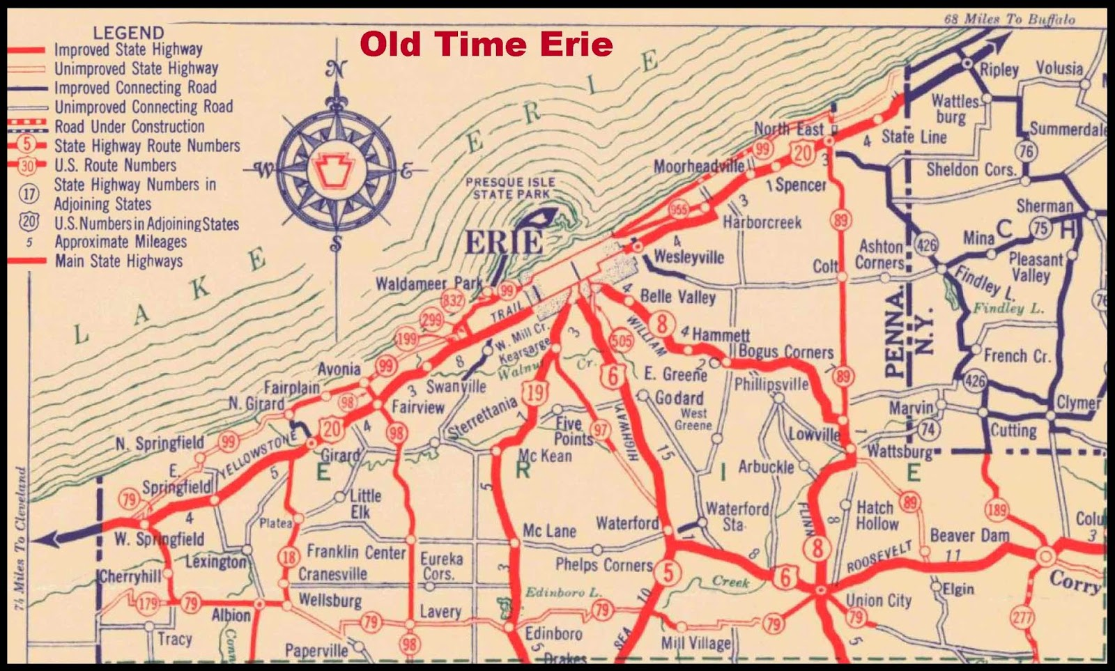 Old Time Erie 1930 Erie County Highway Map
