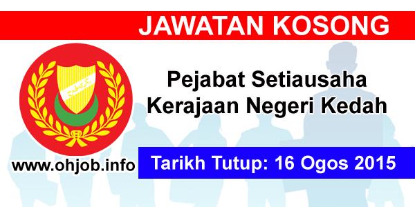 Jawatan Kerja Kosong Pejabat Setiausaha Kerajaan Negeri Kedah logo www.ohjob.info ogos 2015