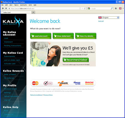 Kalixa account log-in