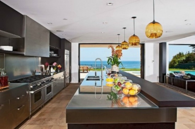 Modern, Masculine Coastal Kitchen With Ocean View