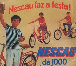 Propaganda do Nescau em 1969 onde sorteavam uma berlinesa: bicicleta dobrável.