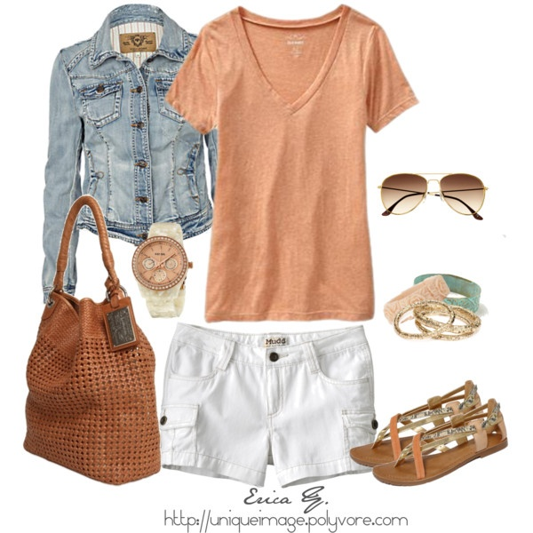 Jeans jacket, shirt, sunglasses, handbag, white shorts, bracelet and sandals for summers