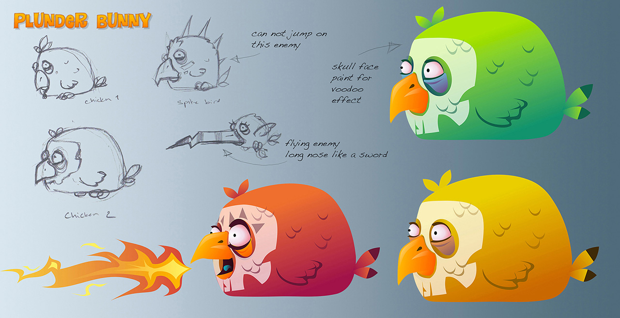 plunder bunny voodoo chickens sketches and mockups