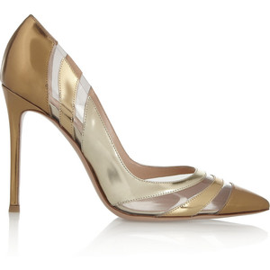 Gianvito Rossi Perspex-paneled metallic patent-leather pumps