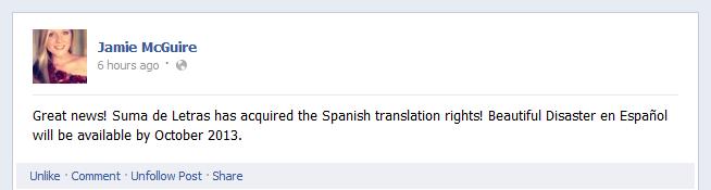 ¡Beautiful Disaster será publicado en español, baby!