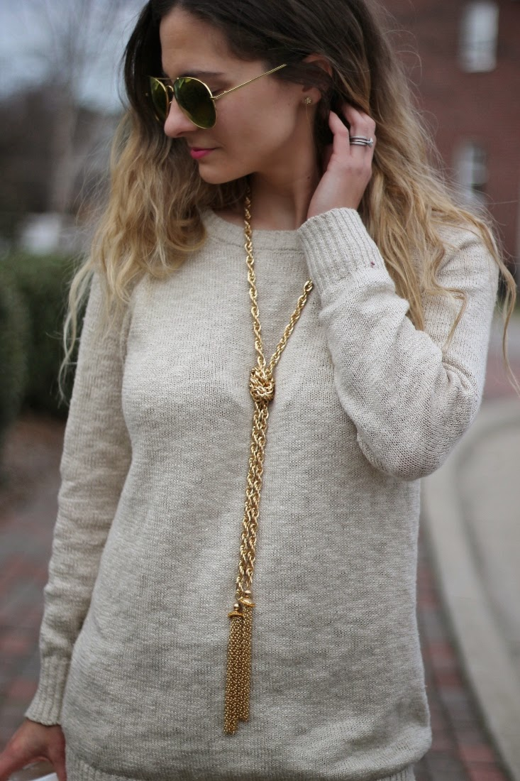 Messy Ombre Hair with Gold Lariat Tassel Necklace