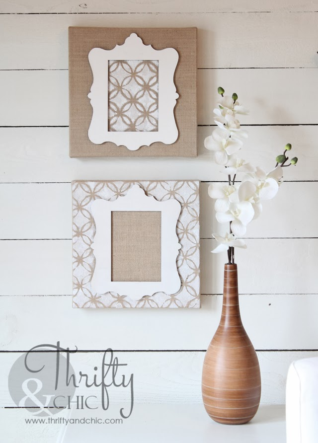 Stenciled Stretched Burlap Art via thriftyandchic.com