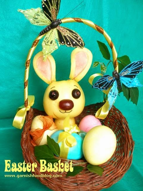 easter bunny made from fruits