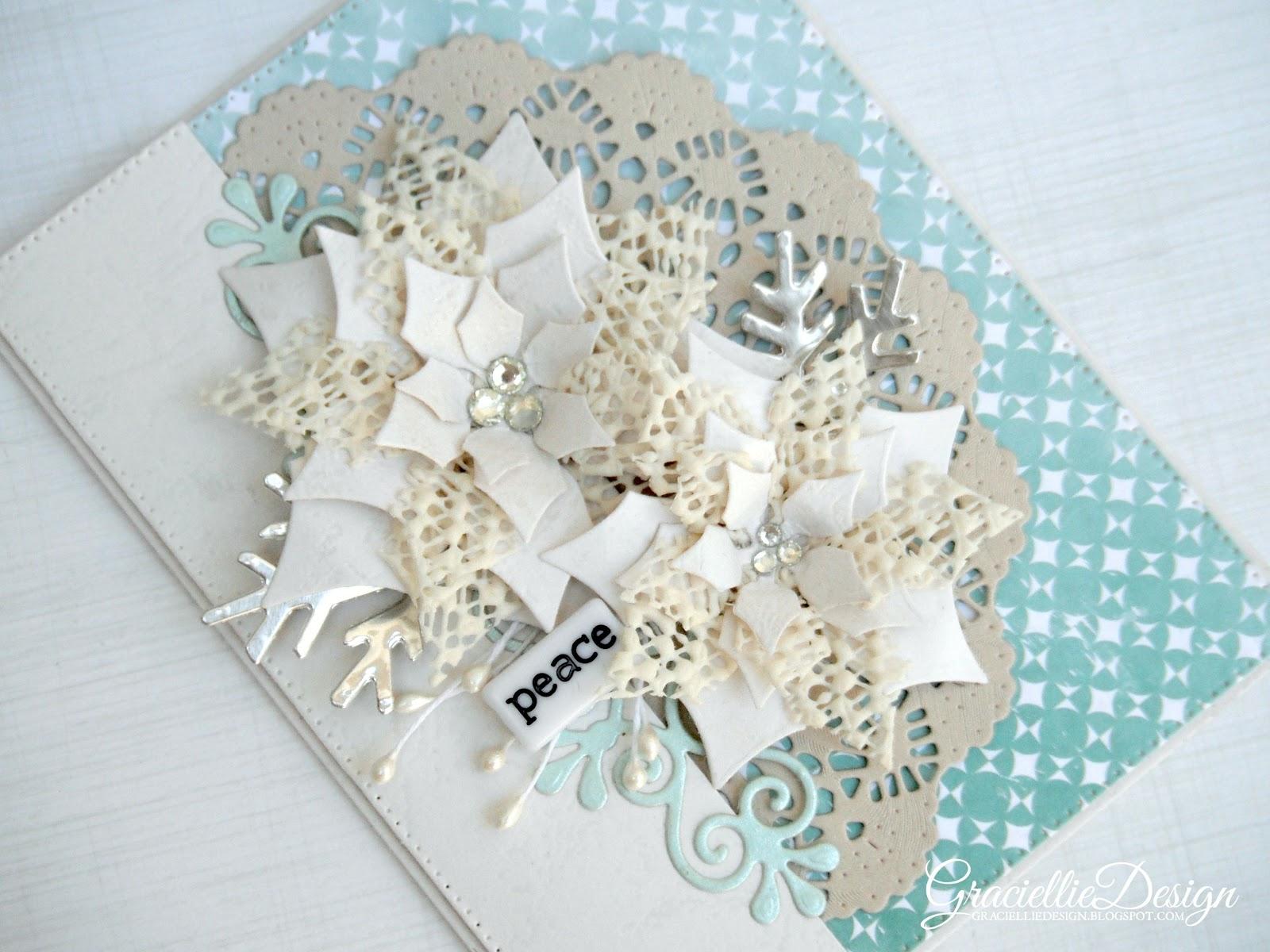 Textured Poinsettias Monochromatic Christmas Card