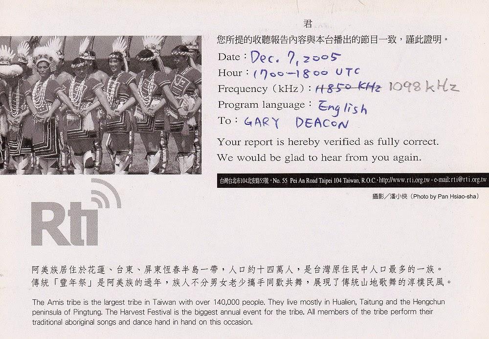 radio taiwan international rti kouhu was heard on 1098 khz on the 7th december 2005 via the frg7 and ala 1530 loop antenna at fish hoek