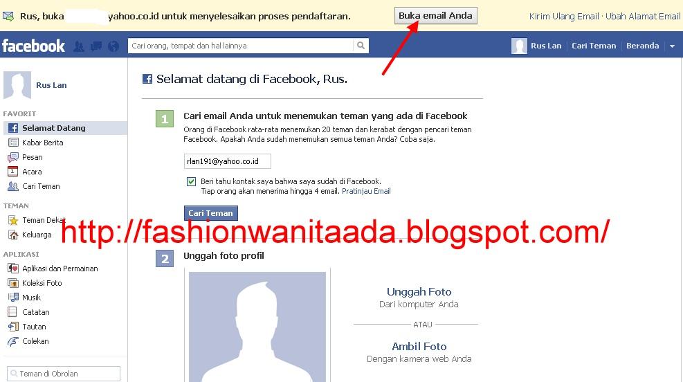 Sebentar lagi anda sudah mempunyai akun facebook yang sudah aktif