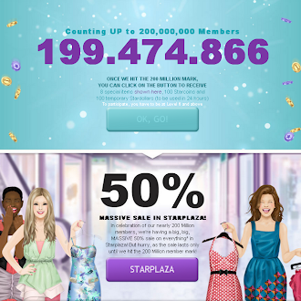 100 Stardollars + 100 Starcoins + 8 FREE Items when Stardoll hits 200 Million Members