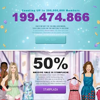 100 Stardollars + 100 Starcoins + 8 FREE Items when Stardoll hits 200 Million Members