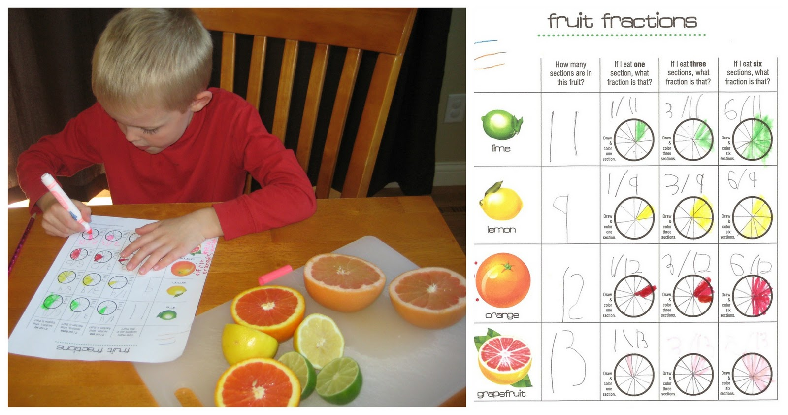 Boy Doing Fruit Fractions