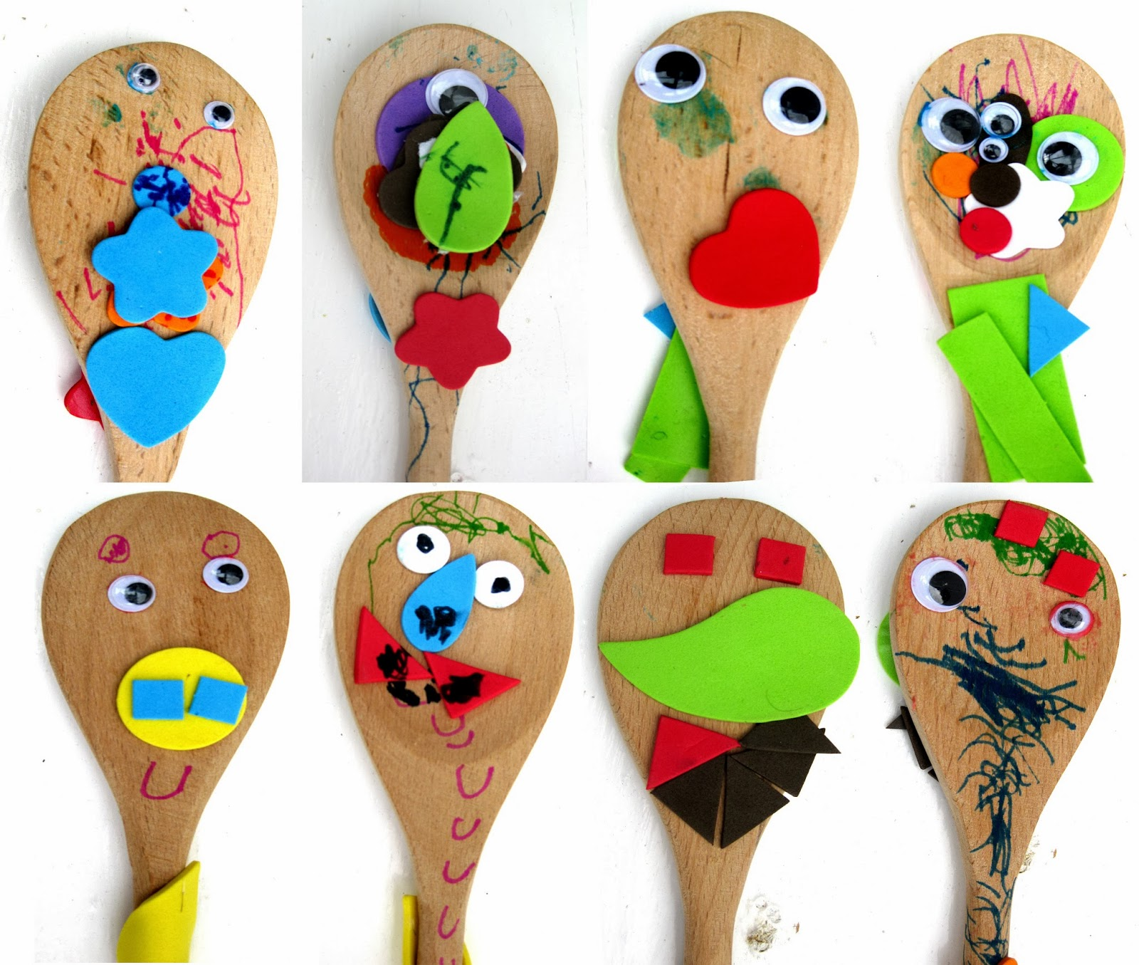 Wooden Spoon Puppets on Halloween Birthday Party Activities