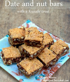 recipe of date and nut bars with kunafe crust | no added sugar for a scrumptious dessert