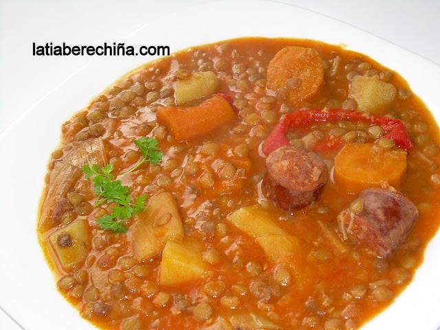 El blog de la tia berechi a lentejas con chorizo for Cocinar lentejas de bote