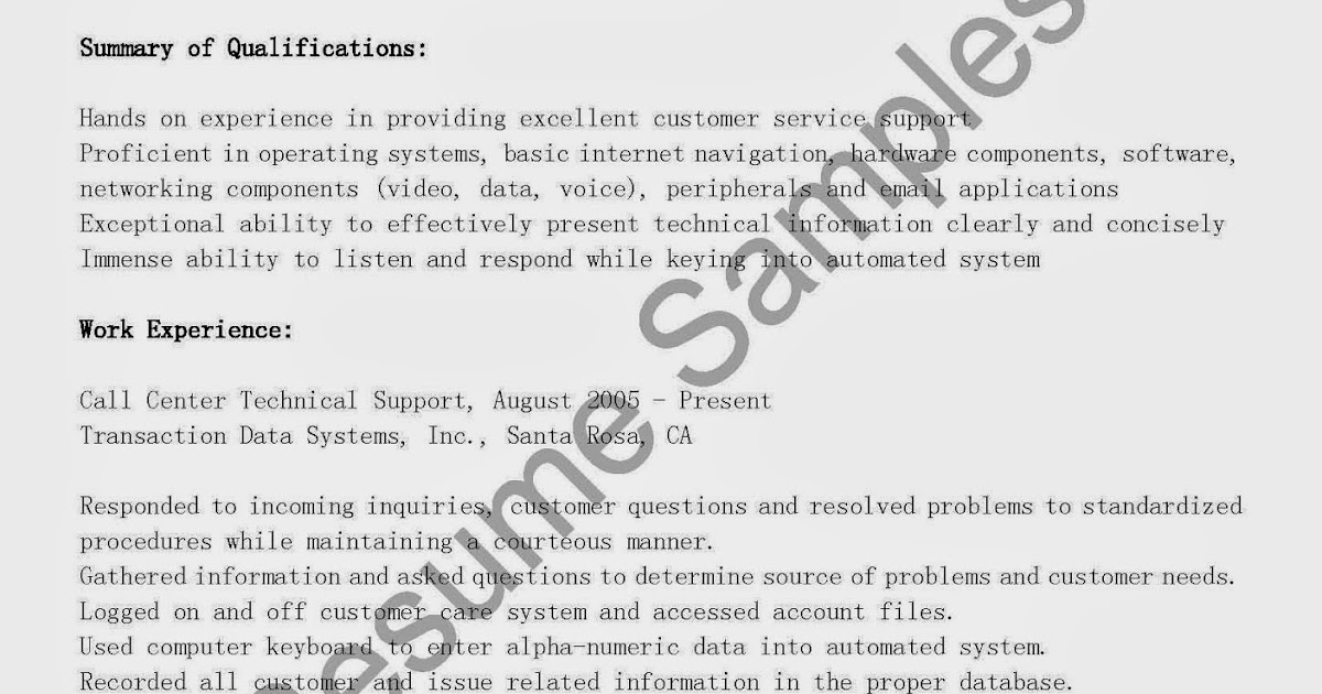 resume sles call center technical support resume sle