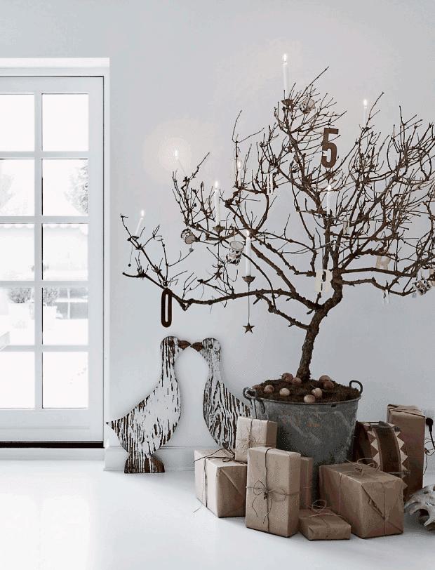Una pizca de hogar decoraci n navide a del lado oscuro - Ramas de arbol para decoracion ...