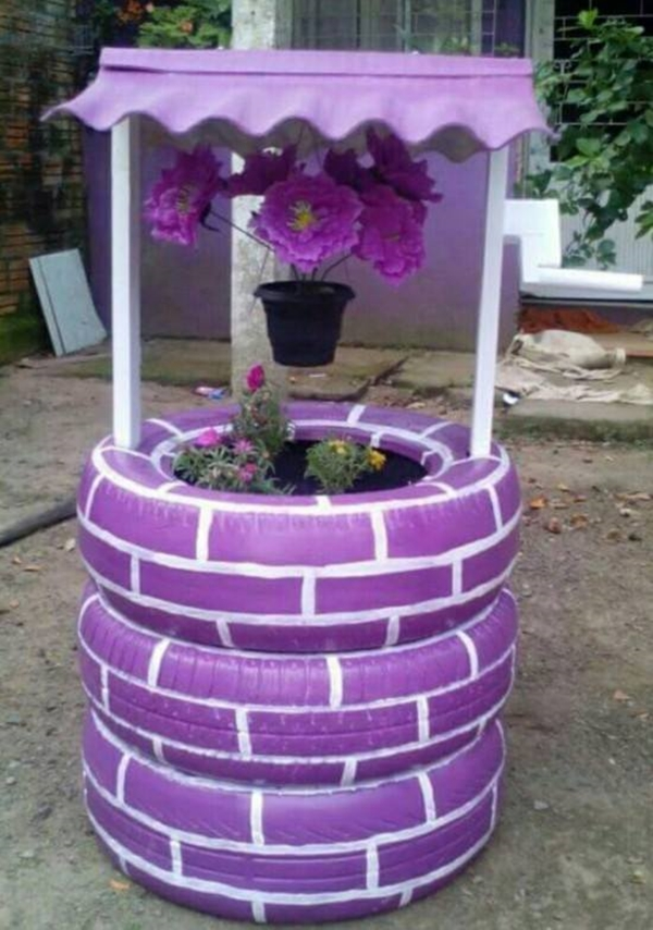 Diy tire wishing well planters diy craft projects - Planters made from old tires ...