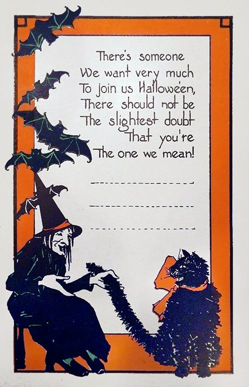 Vintage paper ephemera featuring invitational verse surrounded by black cat, witch, and bats.