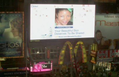 My face in NYC Times Square for Dove's 'Living Skin' Ad Campaign. My head was blown up 7880 Sq.ft!