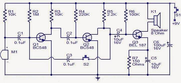 Electronics Projects: Transistor intercom circuit