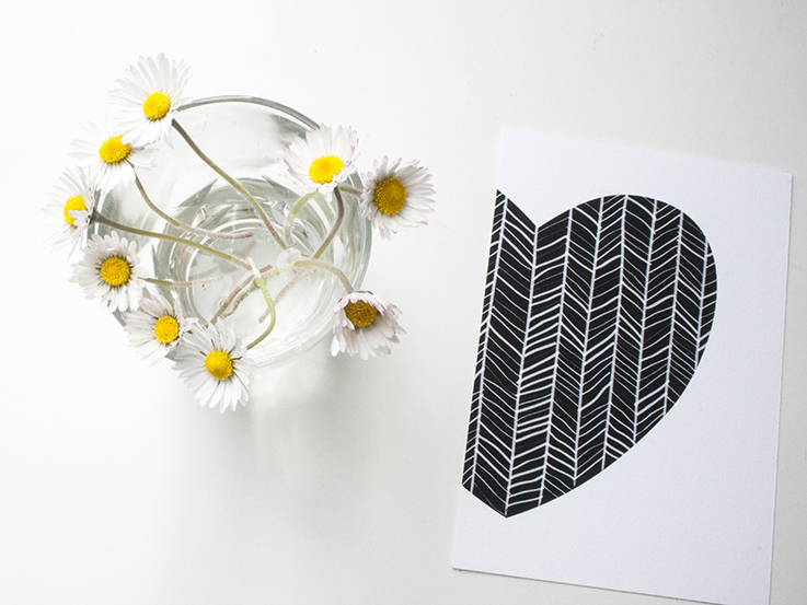 black and white heart card