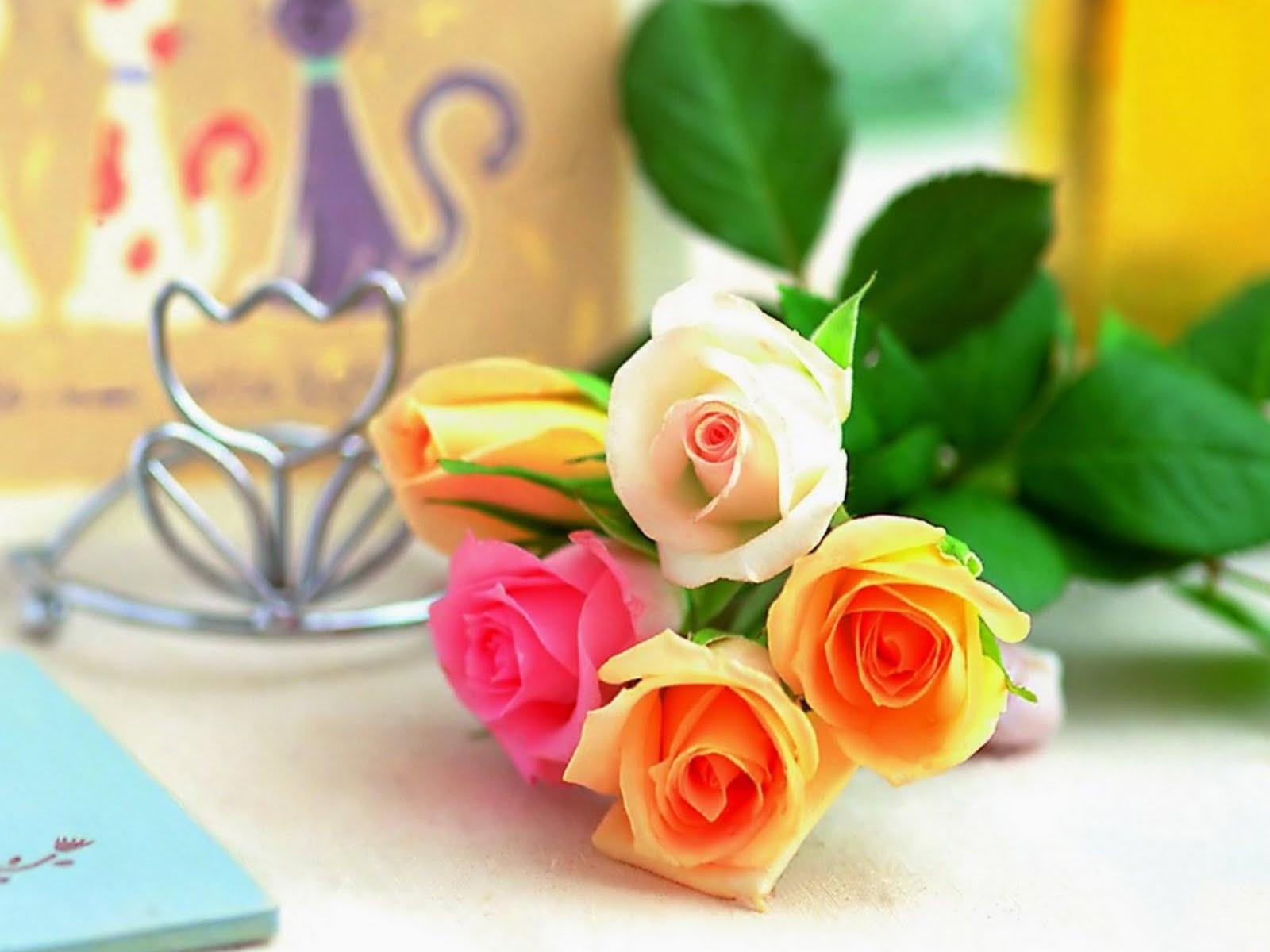 wallpapernarium: Cinco bonitas rosas puestas sobre una mesa