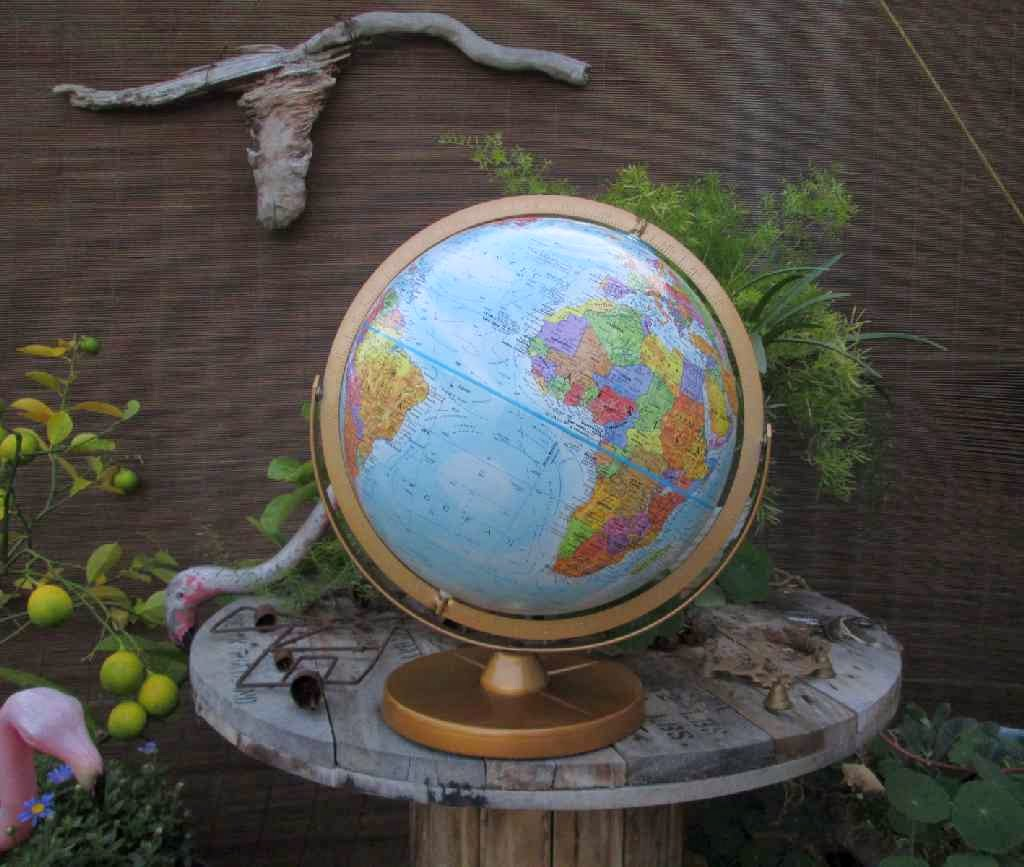 Vintage blue ocean globe of the world by Replogle