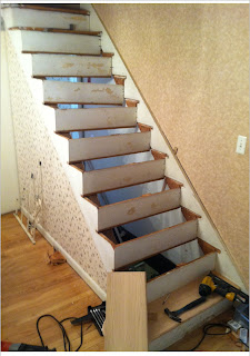 staircase contractor - new red oak treads are installed. new jersey, nj