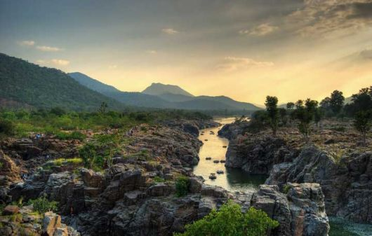 Kaveri river running through Hogenakkal, Tamil Nadu