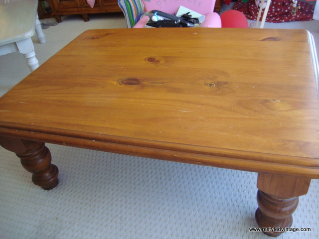 First Up, A Huge, Chunky Honey Coloured Pine Coffee Table That We Bought To  Keep. You Might Notice A Peep Of Another Table I Have Already Finished.