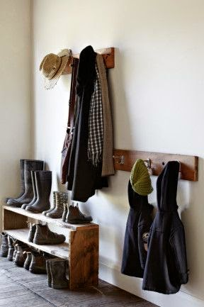 reclaimed wood, organized mudroom, entryway, winter mudroom