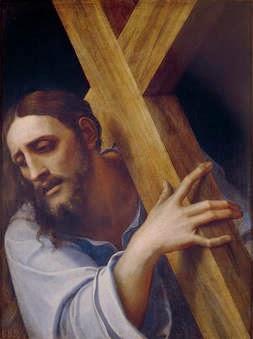 Pintura. Cristo con la cruz a cuestas de Sebastiano del Piombo