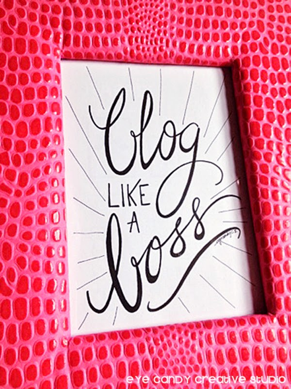 blogger gift idea, hot pink IKEA framed art print, hand lettering, pen and ink