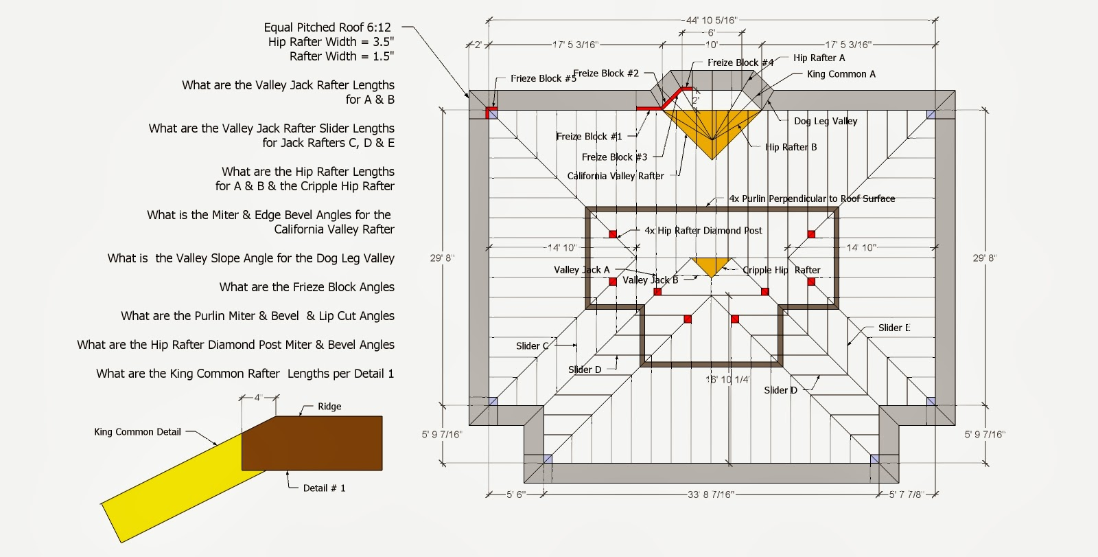 Roof Framing Geometry: Hip & Valley Roof Framing Example # 1
