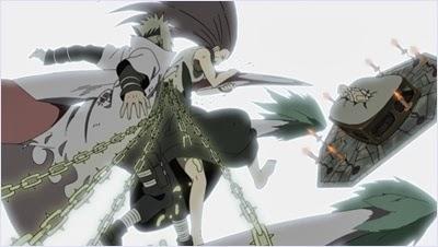 คุชินะกับมินาโตะปกป้องนารูโตะจากเก้าหาง